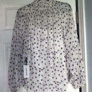 Mock turtle neck sheer blouse